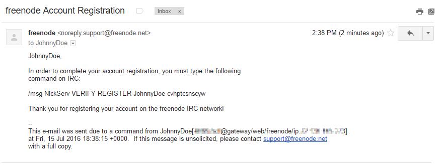 Freenode account verification email