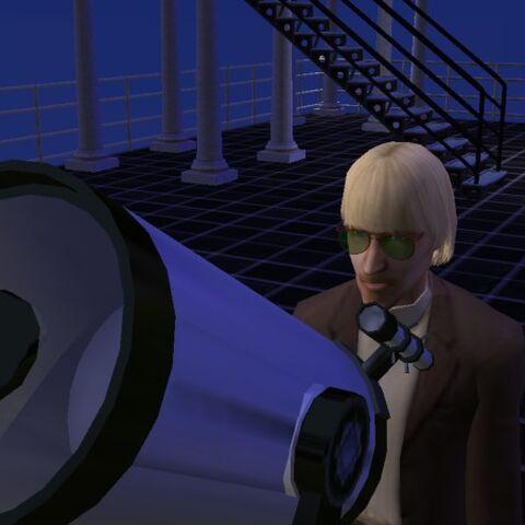 Викунд смотрит через телескоп