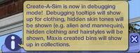 CAS - Mode Debug (Les Sims 2)
