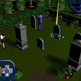 La familia Lápida en el cementerio