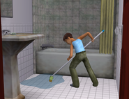 Jaden cleaning bathroom