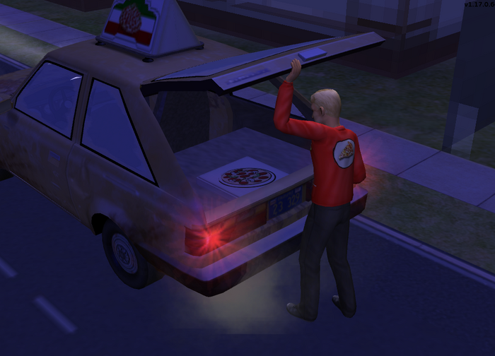 Pizza delivery guy getting pizza from his trunk