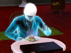 A ghost sim eating ambrosia