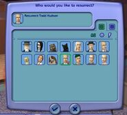 Resurrect-O-Nomitron phonebook-like resurrection screen