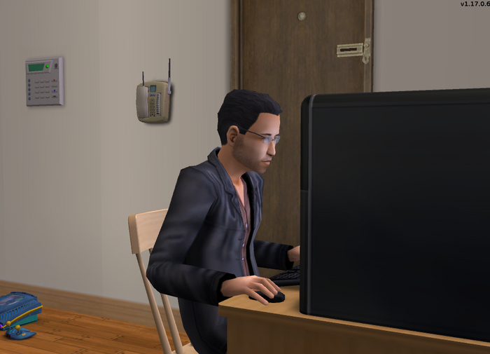 Mitchell Walker on the computer