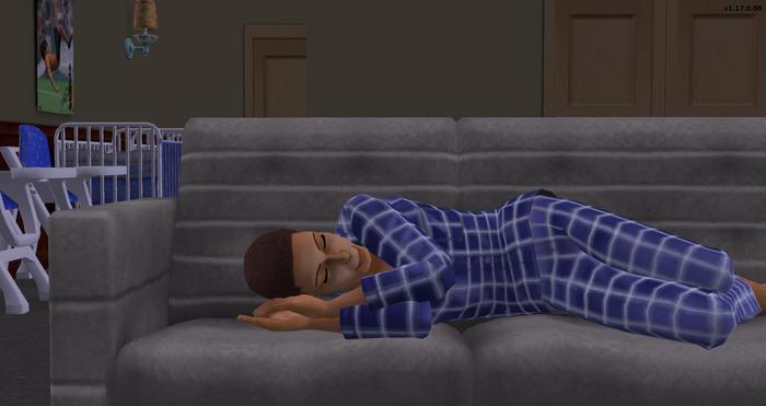 Gavin Newson sleeping on couch