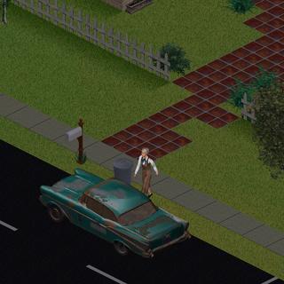 Ginia subiendo al coche de compañía.