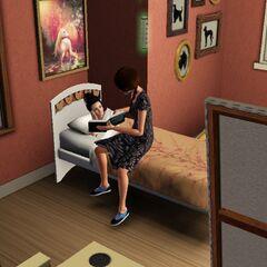 Una niña que le lee su madre.