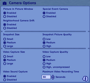 The Sims 2 Camera Options