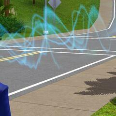 Una hembra alienígena que usa telepatía para escanear un Sim.