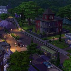 Pendula View en la etapa inicial del juego. Versiones ligeramente diferentes de las casas están presentes en el juego.