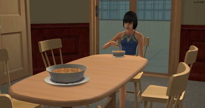 Ginger Newson eating breakfast solo