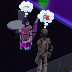 Un SimBot hablando con un <a href=