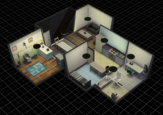 Custom basement made in The Sims 4