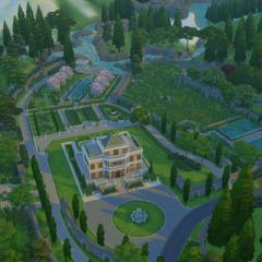 Vista aérea de la hacienda.