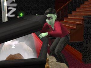 Alien looking in vampire coffin