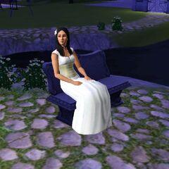 Elvira Lápida en los Sims 3 vestida de novia