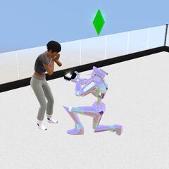 Un Plumbot proponiendo a una Sim.