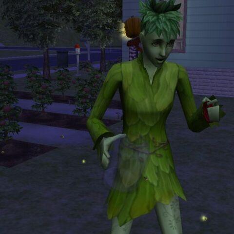 Un SimPlanta de <i>Los Sims 2: Y las cuatro estaciones</i> coleccionando insectos.