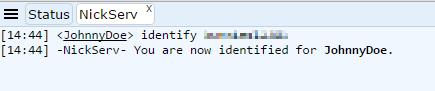 Freenode IRC webchat query nickserv identify