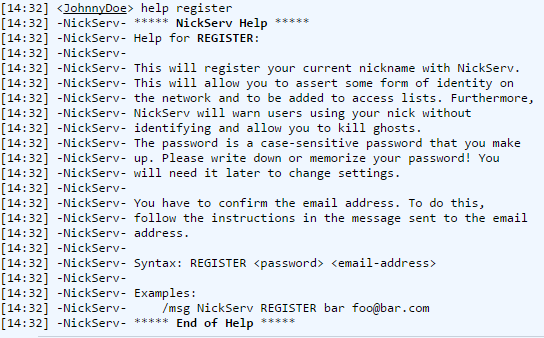 Freenode IRC webchat query nickserv help register