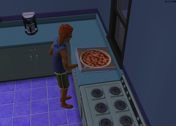 Ryan Logan serving the pizza