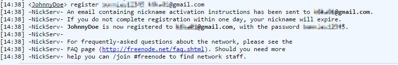 Freenode IRC webchat query nickserv register nickname