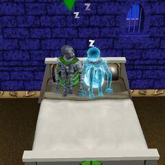 Un fantasma momia haciendo Ñiqui-Ñiqui.
