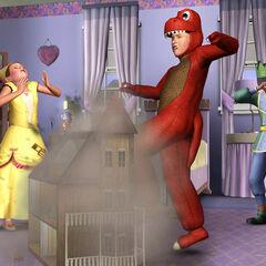 Niño destruyendo una casa de muñecas