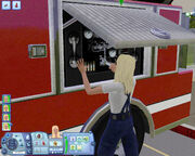 Sim maintaining the fire truck, TS3 Ambitions