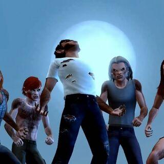Sims licántropos aullando a la luna.