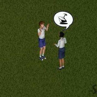 Casandra hablando con un niño en Los Sims