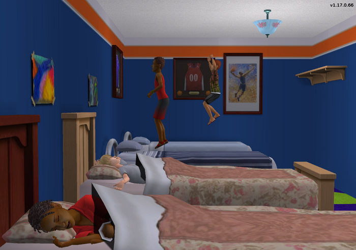 Terry and Dominic jumping on their beds