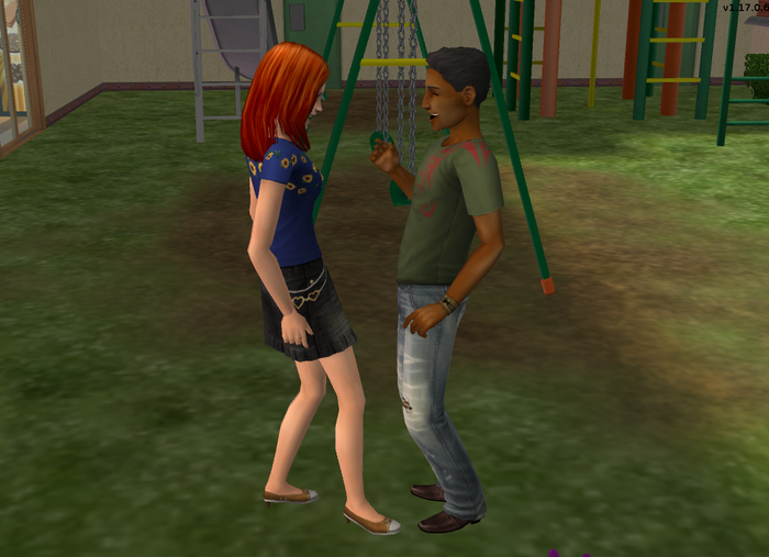 Toby Jocks and Carly Firebaum flirting with each other