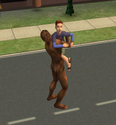 Bigfoot hugging a child