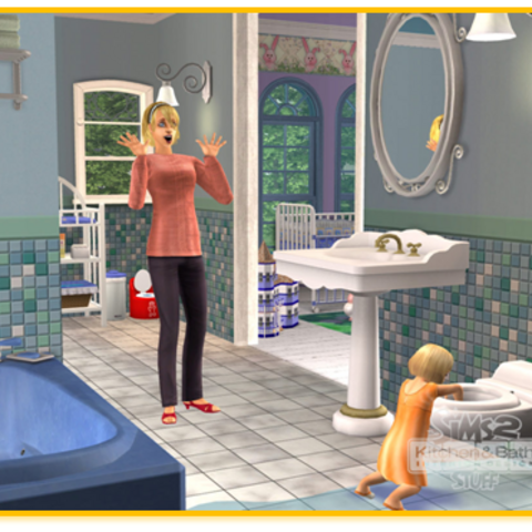 Infante manoseando un inodoro en <i>Los Sims 2</i>