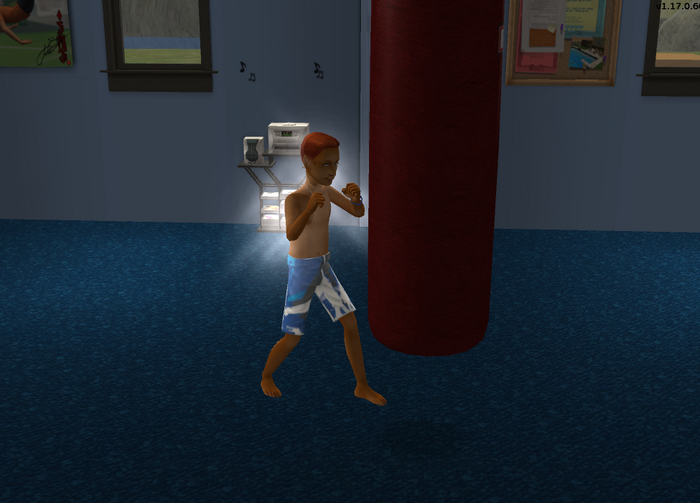 Jordan Logan using the punching bag