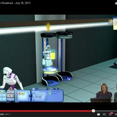 Un Plumbot utilizando una estación de recarga.