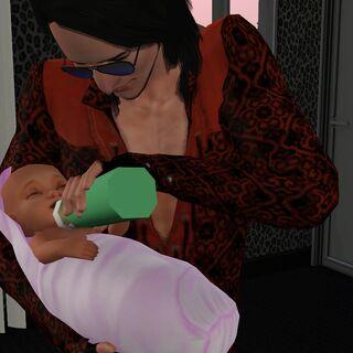 Un sim masculino que alimenta a una bebé.