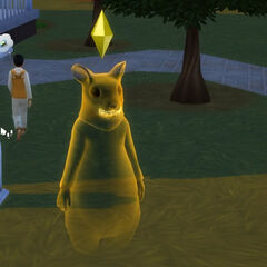 El fantasma de un Sim que murió de la fiebre roedora.