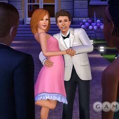 Dos adolescentes Sims en la fiesta de graduación.
