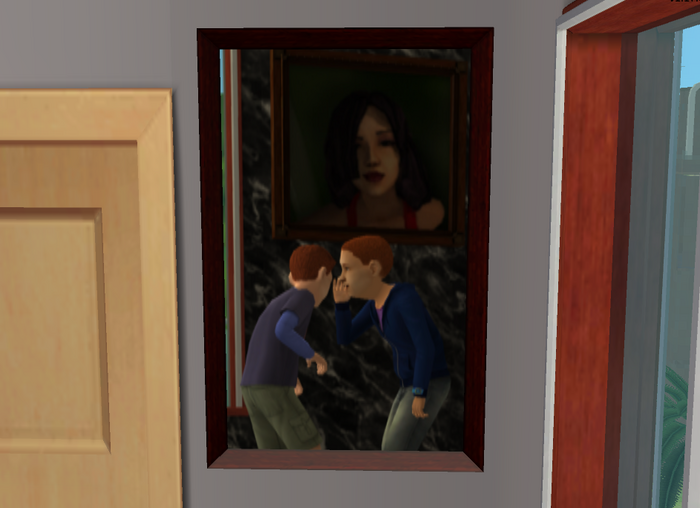 Painting of Justin and Evan gossiping in front of Bella portrait