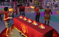 Персонажи участвуют в состязании по поеданию карри