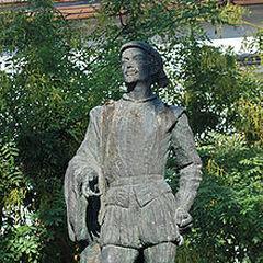 Estatua de Don Juan Tenorio en Sevilla en la plaza de Refinadores, barrio de Santa Cruz en Sevilla, jardines de Murillo.