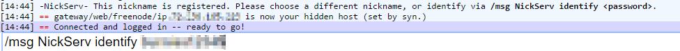 Freenode IRC webchat msg NickServ identify