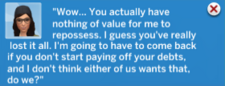 TS4 Nothing to repossess message