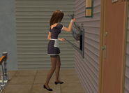 Maid throwing out the Urbans trash - outtake
