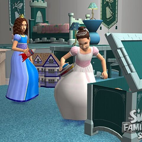 Dos niños en Los Sims 2.