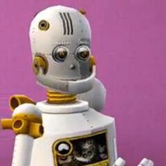 Un SimBot blanco y dorado utilizado en el material promocional de EA.