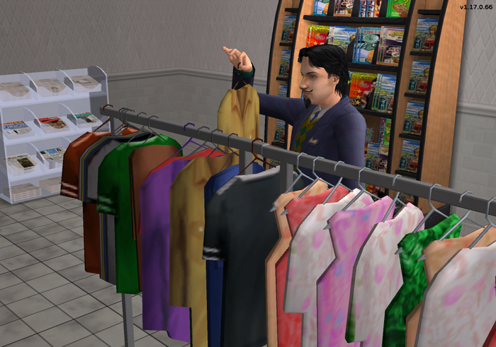 Julien Cooke SimVille browsing through clothes